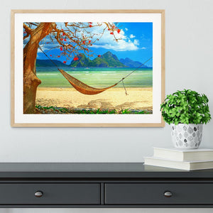 tropical beach scene with hammock Framed Print - Canvas Art Rocks - 3