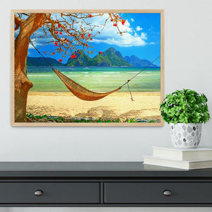 tropical beach scene with hammock Framed Print - Canvas Art Rocks - 4
