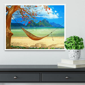 tropical beach scene with hammock Framed Print - Canvas Art Rocks -6