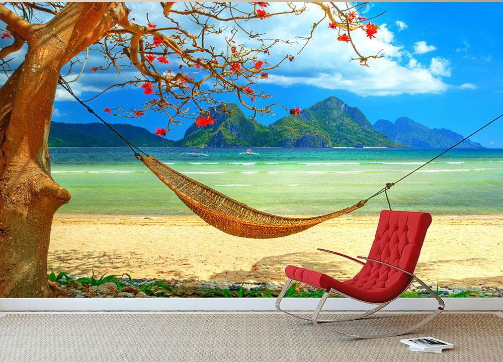 Tropical Beach Scene With Hammock Wall Mural Wallpaper
