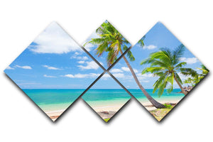 tropical beach with coconut palm 4 Square Multi Panel Canvas - Canvas Art Rocks - 1