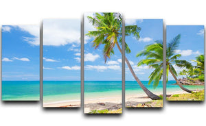 tropical beach with coconut palm 5 Split Panel Canvas - Canvas Art Rocks - 1