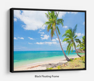 tropical beach with coconut palm Floating Frame Canvas - Canvas Art Rocks - 1