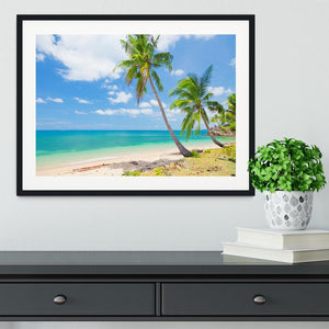 tropical beach with coconut palm Framed Print - Canvas Art Rocks - 1