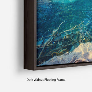 turquoise water and sunny beams Floating Frame Canvas