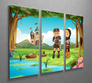 two worriors standing in forest 3 Split Panel Canvas Print - Canvas Art Rocks - 2