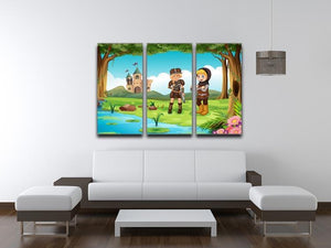 two worriors standing in forest 3 Split Panel Canvas Print - Canvas Art Rocks - 3