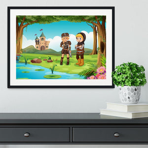two worriors standing in forest Framed Print - Canvas Art Rocks - 1