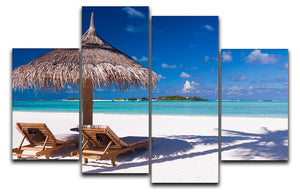 umbrella on a beach with shadow 4 Split Panel Canvas - Canvas Art Rocks - 1