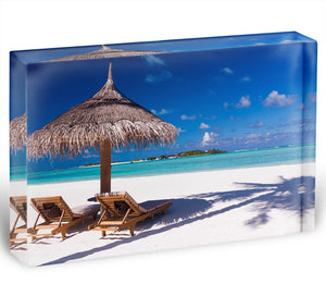 umbrella on a beach with shadow Acrylic Block - Canvas Art Rocks - 1