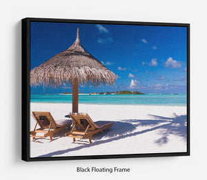 umbrella on a beach with shadow Floating Frame Canvas - Canvas Art Rocks - 1