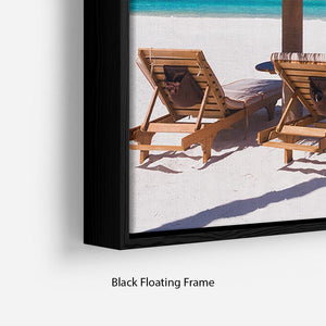 umbrella on a beach with shadow Floating Frame Canvas - Canvas Art Rocks - 2