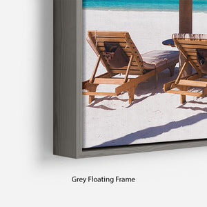 umbrella on a beach with shadow Floating Frame Canvas - Canvas Art Rocks - 4