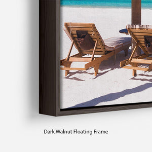umbrella on a beach with shadow Floating Frame Canvas - Canvas Art Rocks - 6