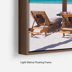 umbrella on a beach with shadow Floating Frame Canvas - Canvas Art Rocks - 8