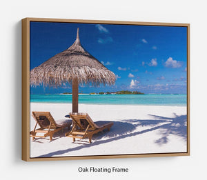umbrella on a beach with shadow Floating Frame Canvas - Canvas Art Rocks - 9