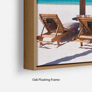 umbrella on a beach with shadow Floating Frame Canvas - Canvas Art Rocks - 10