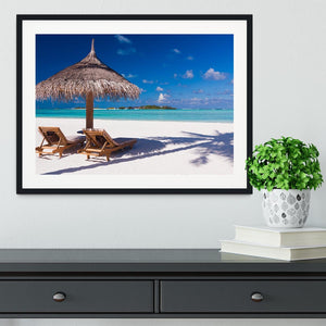 umbrella on a beach with shadow Framed Print - Canvas Art Rocks - 1