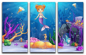 underwater world with a funny fish and a mermaid 3 Split Panel Canvas Print - Canvas Art Rocks - 1
