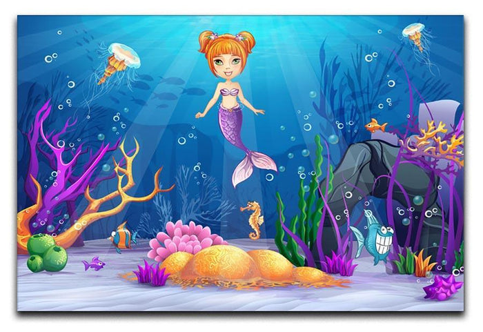 underwater world with a funny fish and a mermaid Canvas Print or Poster