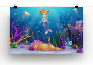 underwater world with a funny fish and a mermaid Canvas Print or Poster - Canvas Art Rocks - 2
