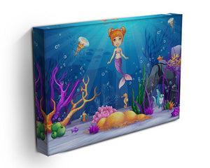 underwater world with a funny fish and a mermaid Canvas Print or Poster - Canvas Art Rocks - 3