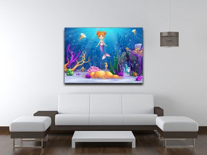 underwater world with a funny fish and a mermaid Canvas Print or Poster - Canvas Art Rocks - 4