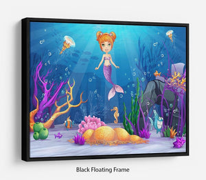 underwater world with a funny fish and a mermaid Floating Frame Canvas