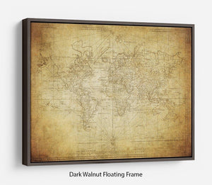 vintage map of the world 1778 Floating Frame Canvas