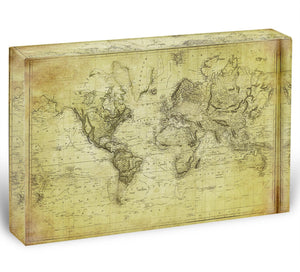 vintage map of the world 1831 Acrylic Block - Canvas Art Rocks - 1
