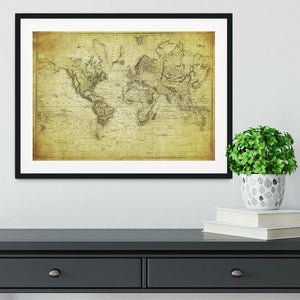 vintage map of the world 1831 Framed Print - Canvas Art Rocks - 1