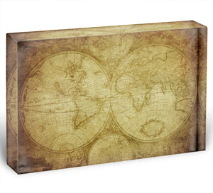 vintage map of the world Acrylic Block - Canvas Art Rocks - 1