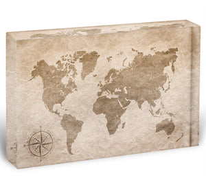 vintage paper with world map Acrylic Block - Canvas Art Rocks - 1