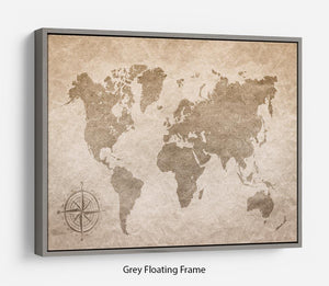 vintage paper with world map Floating Frame Canvas