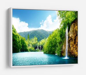 waterfall in deep forest HD Metal Print