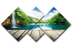waterfall in deep forest of croatia 4 Square Multi Panel Canvas  - Canvas Art Rocks - 1