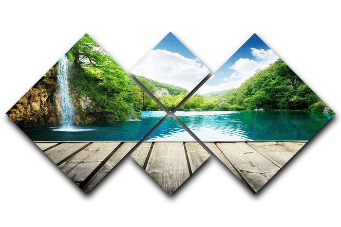 waterfall in deep forest of croatia 4 Square Multi Panel Canvas