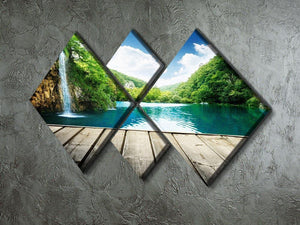 waterfall in deep forest of croatia 4 Square Multi Panel Canvas  - Canvas Art Rocks - 2
