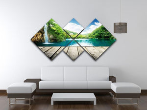 waterfall in deep forest of croatia 4 Square Multi Panel Canvas  - Canvas Art Rocks - 3