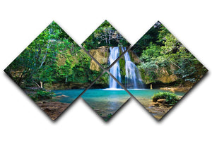 waterfall in deep green forest 4 Square Multi Panel Canvas - Canvas Art Rocks - 1