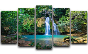 waterfall in deep green forest 5 Split Panel Canvas - Canvas Art Rocks - 1