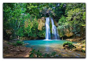 waterfall in deep green forest Canvas Print or Poster - Canvas Art Rocks - 1