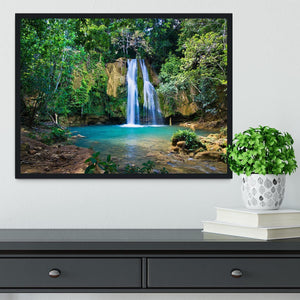 waterfall in deep green forest Framed Print - Canvas Art Rocks - 2