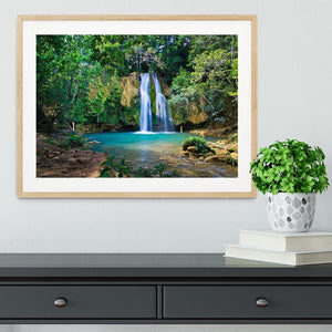 waterfall in deep green forest Framed Print - Canvas Art Rocks - 3