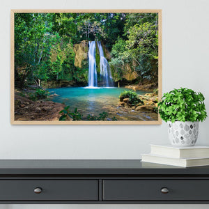 waterfall in deep green forest Framed Print - Canvas Art Rocks - 4