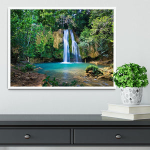 waterfall in deep green forest Framed Print - Canvas Art Rocks -6