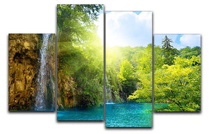 waterfalls in deep forest 4 Split Panel Canvas - Canvas Art Rocks - 1
