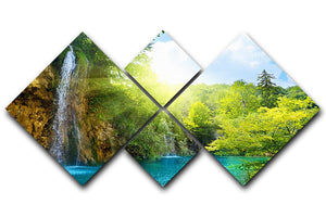 waterfalls in deep forest 4 Square Multi Panel Canvas - Canvas Art Rocks - 1