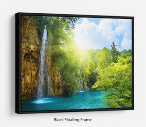 waterfalls in deep forest Floating Frame Canvas - Canvas Art Rocks - 1