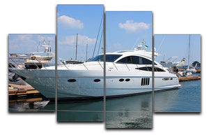 white yacht in marina 4 Split Panel Canvas  - Canvas Art Rocks - 1